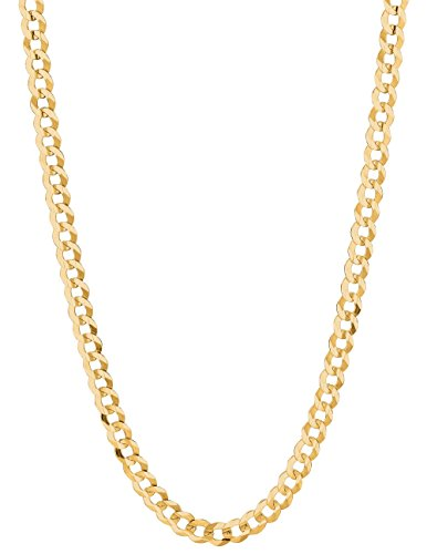 RCI 14K Solid Gold Comfort Concave Cuban Curb Link Chain Necklace 5.7 Mm (26 Inches)