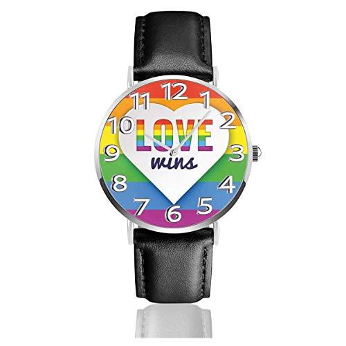 Pride Love Wins Heart Leather Watch Relojes de Pulsera de Moda Unisex Reloj Resistente a los arañazos Relojes de Desgaste Duradero