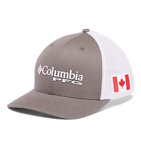Columbia Tapa de Bola de Malla PFG, Unisex, 1503971, Titanium, Bandera de Canadá, XL