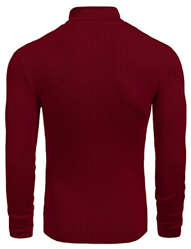 Coofandy Mens Ribbed Slim Fit Knitted Pullover Turtleneck Sweater, Wine Red ,Small