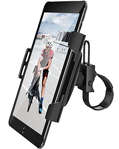 AboveTEK Soporte para iPad/iPhone/Tableta, Antichoque 360° de 3.5'a 12', Puerto para Tableta con Correa Expandible para Ciclismo Interior/Gimnasio/Cinta de Correr/Bicicleta de Spinning/Elíptica