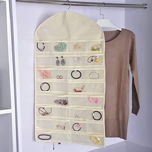 32 rejillas no tejidas de doble cara para colgar joyas bolsillos de almacenamiento pendientes, collares, pulseras y bolsillos de almacenamiento