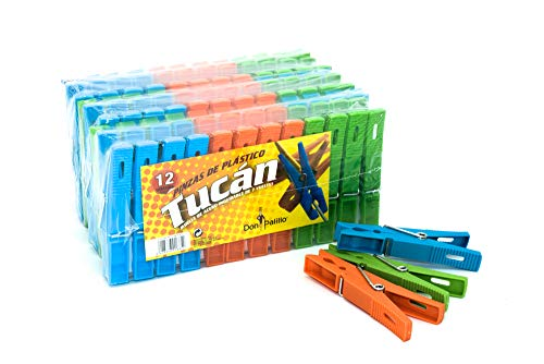 DON PALILLO - 72 Pinzas de plástico para la Ropa. TAMAÑO XL. Longitud 9 cms (6 Paquetes de Pinzas con 12u. por Paquete)