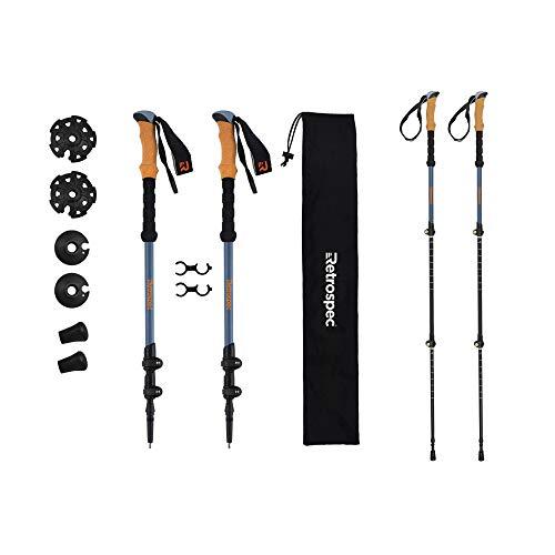 Retrospec High Point Trekking Poles Aluminum 6061 with Cork Grip - Adjustable Lightweight Hiking/Walking Sticks, Altitude Blue (3557)