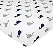 American Baby Company Printed 100% Natural Cotton Value Jersey Knit Fitted Portable/Mini-Crib Sheet, Navy Whale, Soft Breathable, for Boys and Girls, Pack of 1