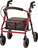 """NOVA Medical Products Zoom Rollator Walker with 20"""" Seat Height, Red"""