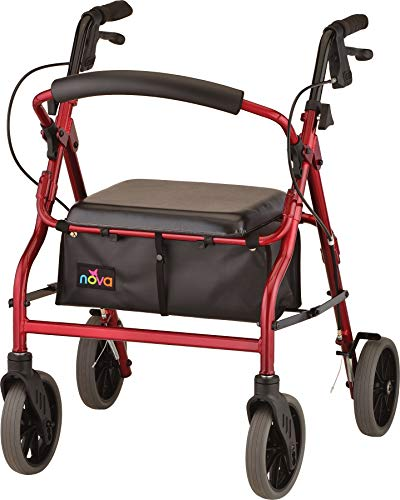 "FEATURES:  From Petite to Tall, get the perfect fit and features with The Zoom Rolling Walker. It is the only Rolling Walker that comes in 4 seat heights 18"", 20"", 22"", 24""  - giving you the perfect sitting and standing fit.  NOVA's signature rolling..."
