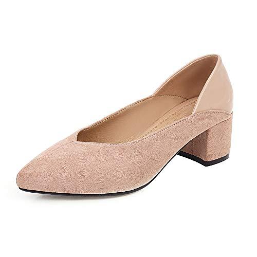 FOLOPOBO Damen Mode Ohne Verschluss Schuhe mit Absatz Mitte Blockabsatz Kleid Pumps Gemütlich Schuhe Apricot Große 39 Asiatisch