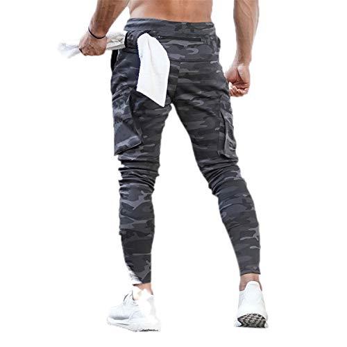 Pantalones Hombre Casual Sport Jogging Gym con Bolsillos Laterales con cordón Volver Camuflaje Verde Slim Fitness (Camuflaje Gris, M)