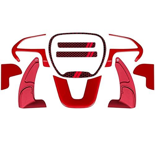 Gaoominy Accesorios Interiores de Adorno de Cubierta de Volante para Challenger Charger 2015-2021 Kit de Emblema Extendido de Paleta de Cambio