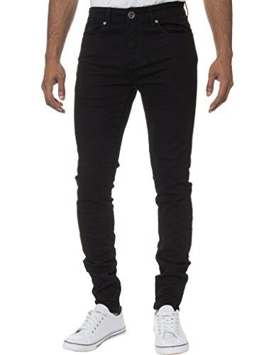 Kruze Mens Super Skinny Stretch Jeans KZ106 BLK 34S