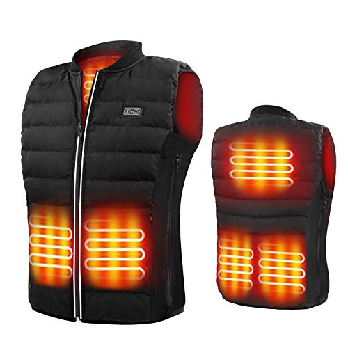 7.4V Heated Vest - Lightweight Washable Heating Puffer Jacket 7.4V Rechargeable Battery Pack Electric Charging Warm Waistcoat Clothing for Outdoor Hiking, Hunting, Motorcycle, Camping for Men&Women