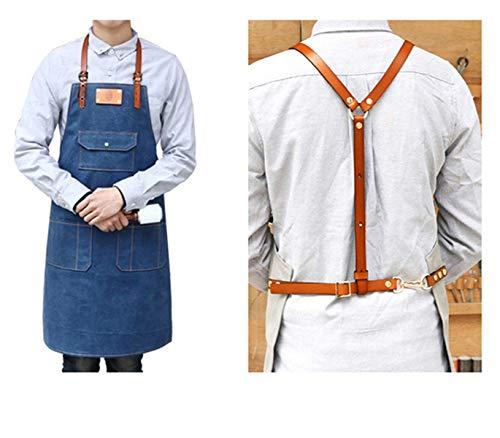 WQYH Tablier Denim Toile Tablier Réglable Bracelet en Cuir BBQ Pâtissier Chef Uniforme Barber Coiffeur Fleuriste Vêtements De Travail Tablier L Bleu