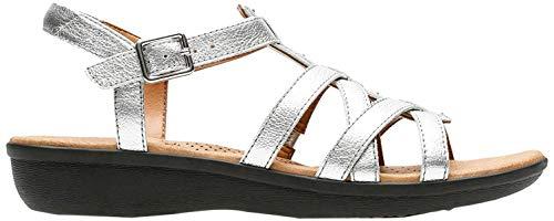 Clarks Manilla Bonita - Sandalias para Mujer, Color Silver Leather, Talla 37.5
