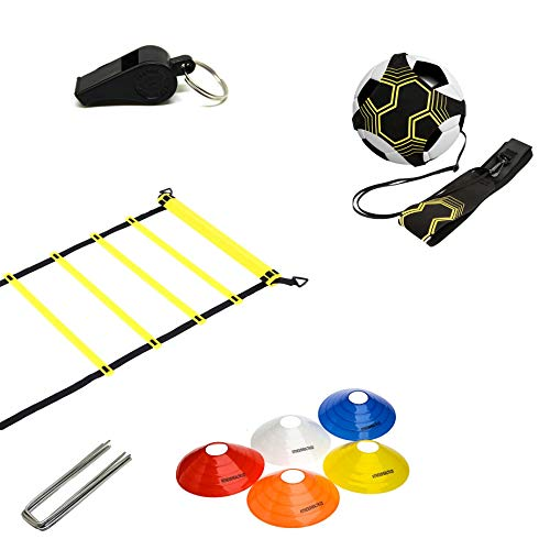 Fitness Health Speed Agility Ladder Equipment Cone Set with Staples | Sports Play Team Performance Kids Bundle Fast Footwork Football Training Drills Set
