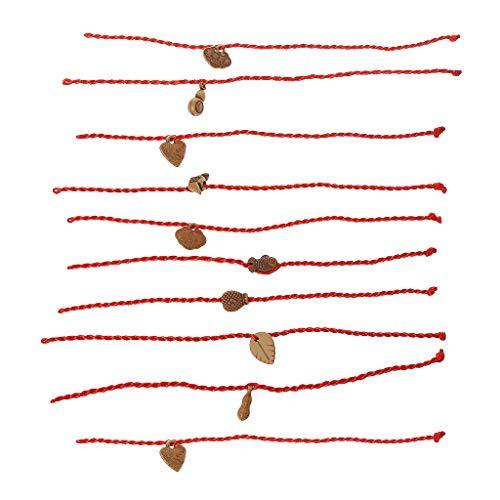 SimpleLife 10 Stück Rote Schnur Handgemachte Glück Armbänder Geflochtene Freundschaft Liebhaber Armbänder Unisex (Zufällige Farbe)