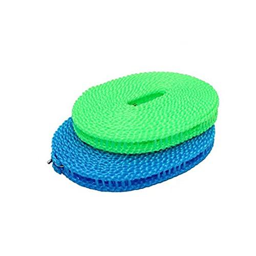 fregthf Juego de 2 cuerdas de 5 m para ropa portátil, ajustable, para uso en interiores y exteriores, cuerda de ropa perfecta a prueba de viento, para camping, viajes, uso en...