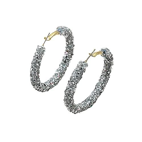 Damen Creolen Minimalist Ohrringe mit Paillette, Ohrringe Hoop für Mädchen/Jungen, Modeschmuck Schmuck Valentinstag Earring Jewelry Gift für Frauen Mama Schwester Mädchen Freunde