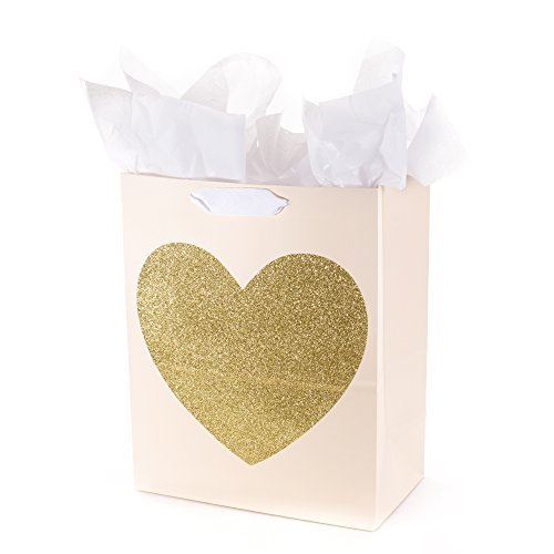 Hallmark 13' Large Gift Bag with Tissue Paper (Gold Glitter Heart) for Birthdays, Bridal Showers, Weddings, Anniversaries, Sweetest Day and More