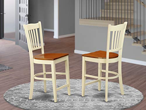 East West Furniture Groton counter height chairs-Wooden Seat and Buttermilk Solid wood Structure counter height dining chairs set of 2