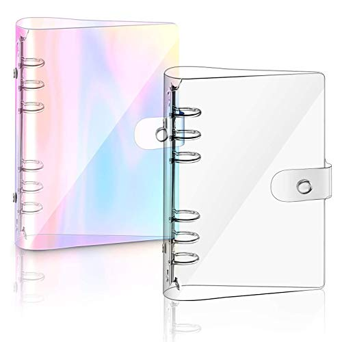 2 Stück A6 Rainbow Soft PVC Notebook Binder, nachfüllbares Papier PVC Binder, klar weiche PVC Notizbuchhülle, lose Blätter persönliche Planer Binder (Regenbogen)