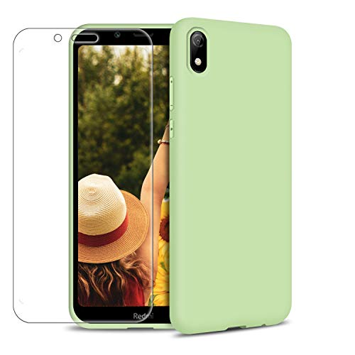 Funda Xiaomi Redmi 7A + Protector de Pantalla de Vidrio Templado, Carcasa Ultra Fino Suave Flexible Silicona Colores del Caramelo Protectora Caso Anti-rasguños Back Case - Menta Verde