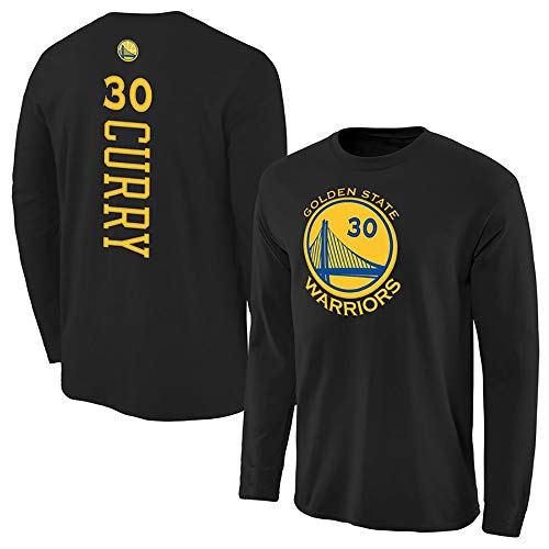 Camiseta De Baloncesto De Manga Larga para Hombre, NBA Golden State Warriors 30# Stephen Curry Activewear Camiseta Suelta Y Suave, Uniforme Deportivo para Aficionados,Negro,XXXL