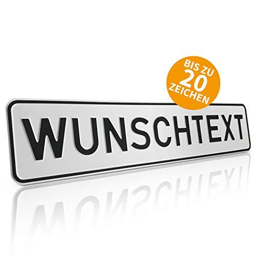 Betriebsausstattung24® Individuelles Parkplatzschild mit Wunschprägung/Wunschtext ohne P-Symbol | Kennzeichen-Form Text nach Wahl | BxH 52,0 x 11,0 cm | mit/ohne Löcher