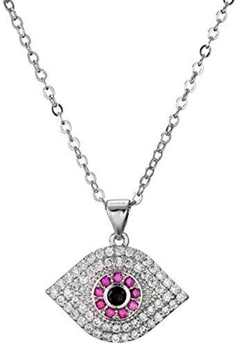 ZGYFJCH Co.,ltd Collar de Cadena de eslabones de Oro de Moda AAA + CZ Collar con Colgante de Ojo de Piedra para Mujer, joyería de Fiesta, Collar de Gargantilla para Mujer