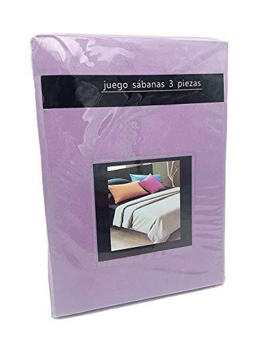 LEYENDAS Juego SABANAS 3 Piezas Liso 15 Color,100% Poliester (Lavanda, 105_x_200_cm)