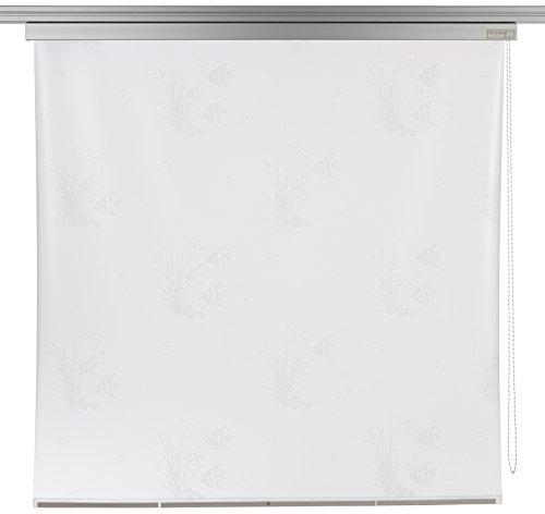 ECO-DuR 4024879001070 Kassetten Duschrollo 134 cm silber - Fische weiß