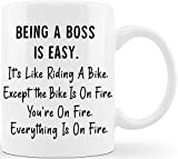 Being A Boss Is Easy Funny Gag Gift Ideas for Bosses at The Office Male Female Work Boss Lady Gifts for Men Women Adult Employee Coworkers Staff Entrepreneur Business Owner Friends Coffee Mug