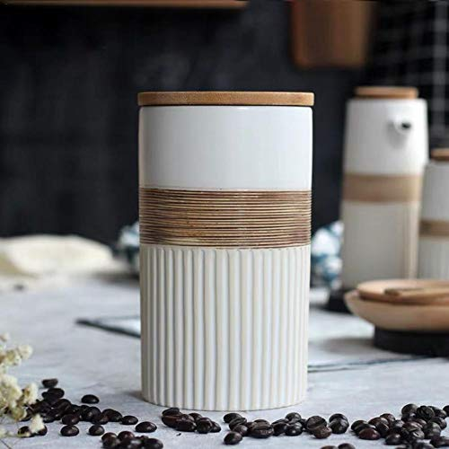 Ceramic Coffee Bean Jar Nordic Handmade Sealed Coffee Storage Container Kitchen Dry Sugar Canister Fruit Cereals Storage Tank