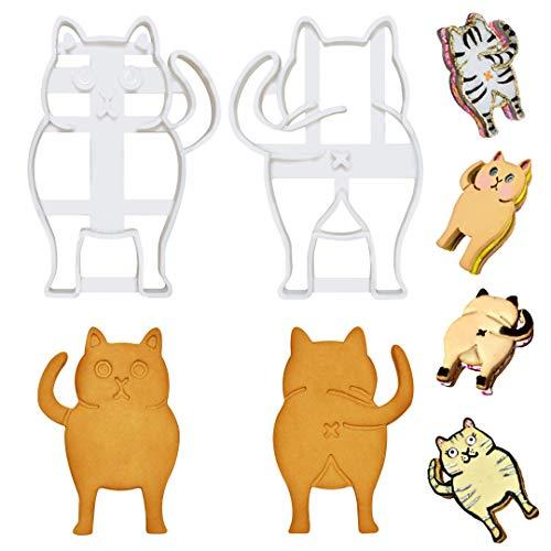 PoozyCatz - Chonky Kitty Ausstechformen-Set – 2 Stück – groß 10,2 cm Größe – vorne und hinten Katze Butt Keksausstecher – Backzubehör – Fondant – Süßigkeiten – Sandwich Maker