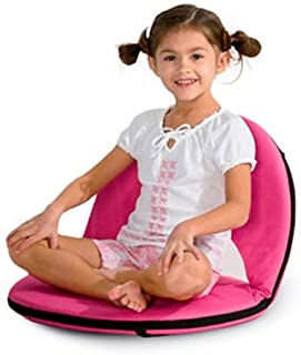 Hot Pink 5-Position Folding Chair with Adjustable Strap for Kids and Adults Comfortable Seat for Ground and Floor 20''L x 9.5''H