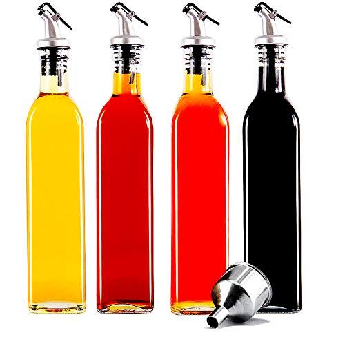 Güker Essig und Öl Spender 4er Pack, Ölflasche aus Glas mit Ausgießer,Olivenöl Dispenser mit Anti-Schmutz Verschluss 500ml,Auslaufsicher und Tropffrei