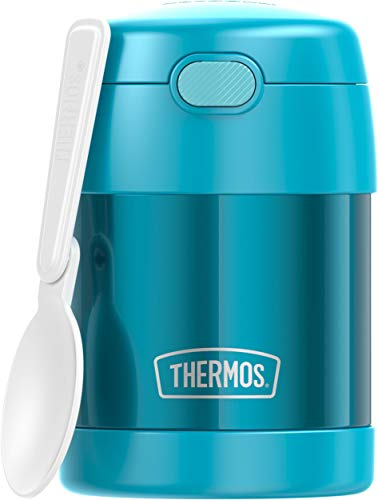 THERMOS FUNTAINER 10 Ounce Stainless Steel Vacuum Insulated Kids Food Jar with Folding Spoon, Teal