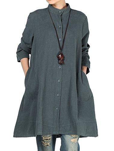 Vogstyle Donna Autunno Cotone inen anteriore completa Vestito bottoni della camicia con tasche arge XXL Verde Scuro
