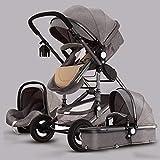 YQLWX 3 en 1 Vista alta Carruaje de bebé, paraguas Sistema de viaje plegable para bebé bebé, cochecito de cochecito compacto convertible, cochecito de cochecito, cesta de almacenamiento, área de asien