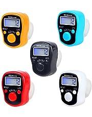 CG Tally Finger Counters, 5 digitale led-vingerclickers met digitale elektronische vingerteller, handtally mini-handteller met lcd-display, vingerteller voor moslimitisch gebed, 5 stuks