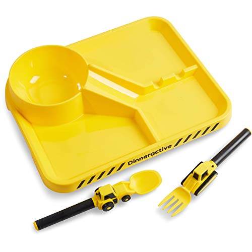 Dinneractive Dining Set For Kids - 3 PC Construction Themed Dinnerware - Tractor Utensils - Toddler Plates - Baby Dishes