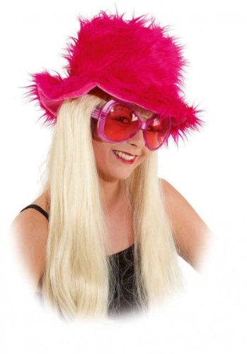 Faschingshut Damen Plüschhut pink