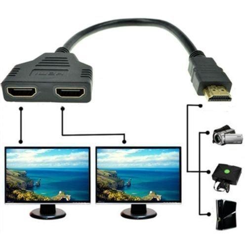 HDMI-Kabel-Splitter, 1080P HDMI-Stecker auf Dual-HDMI-Buchse, 1-auf-2-Wege-Splitter-Kabel-Adapter, Konverter für HDTV/DVD-Player/PS3 und die meisten LCD-Projektoren