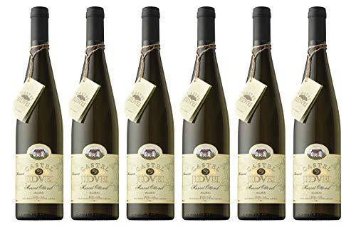 Jidvei   CASTEL Muscat Ottonel - Vin Alb Demidulce   Weißwein lieblich aus Rumänien   Weinpaket 6 x 0,75 L D.O.C. – C.T. Reserva + 1 Kugelschreiber Amigo Spirits gratis