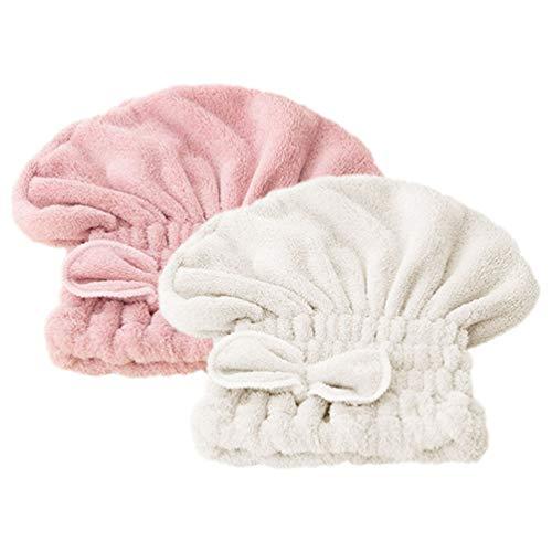 Milisten Casquette de Séchage de Cheveux Mignon Épaissie Corail Polaire Bowknot pour Enfants Adulte Rose + Blanc Cassé