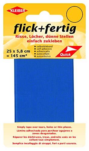 Kleiber 43078 Flick + fertig Selbstklebender Nylon Ausbesserungsflicken, 100% Polyamid, kornblau, 25 x 5,8 x 0,02 cm , (145 cm²)