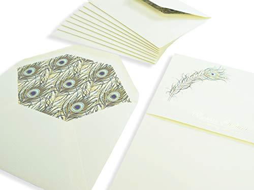 Briefpapierbox blanko zum Schreiben | Papier Federn | 170gm² Bilderdruck Büttenpapier | Briefumschläge ohne Fenster | Set mit je 10 Kuverts und Schreibpapier matt, für besondere Anlässe