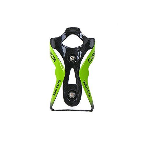 QIKU Ultra Light Portabottiglie per Bici in Carbonio Portaborraccia Bicicletta portaborraccia (Verde Lucido)