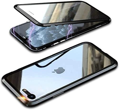 Crystal Clear Vetro Temperato Magnetica Metallo Paraurti Cover per iPhone SE 2020, Cover iPhone 8 Cover in 360 Gradi Protezione Antiurto Flip Case Custodia,Trasparente,Nero