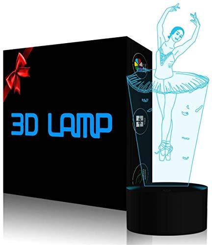 Luz nocturna 3D 3D ilusión lámpara bailarina ballet regulable control táctil luz brillo para decoración del hogar y regalos para amantes, padres, amigos, 16 colores